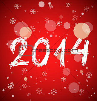 White new year 2014 on red background
