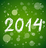 White new year 2014 on green background