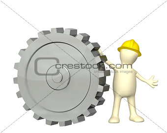 3d puppet with cogwheel