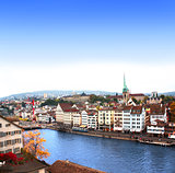 View of the embankment and Limmat river in Zurich