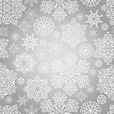 Vector Seamless Pattern with White Snowflakes