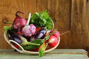 autumn harvest vegetables (eggplant, carrots, tomatoes, garlic)