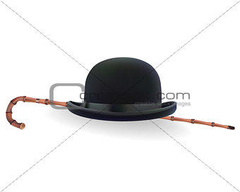 bowler hat and bamboo cane
