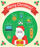 Christmas Card with Santa Claus and a Wishlist
