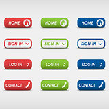 Set of colored rectangular web buttons