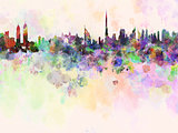 Dubai skyline in watercolor background