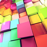 Colored cubes background