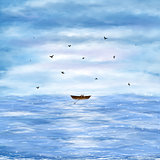 Illustration of a lonely boat