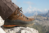 Hiking boots in the mountains