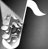 Music Note Background - White Velvet