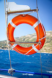 Lifebuoy hanging on boat