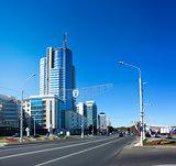 Pobediteley Avenue in Minsk, Belarus