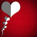 White Paper Hearts on Red Velvet Background