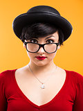 Astonished nerd girl