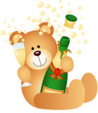 Teddy bear drinking champagne