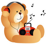 Teddy bear listening to music with headphones and player