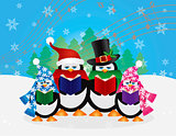 Penguins Christmas Carolers Snow Scene Illustration