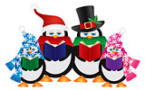 Penguins Christmas Carolers Illustration