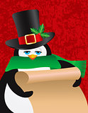 Penguin Male Holding Scroll Illustration