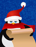 Penguin Santa Holding Scroll Illustration