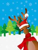 Santa Reindeer with Santa Hat Snow Scene Illustration