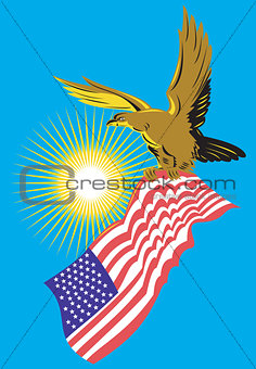 American Bald Eagle Carry Flag Retro