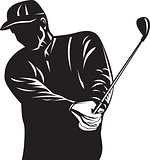 Golfer Swinging Club Black and White Retro