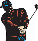 Golfer Swinging Club Woodcut Retro