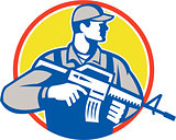 Soldier Military Serviceman Assault Rifle Side Retro