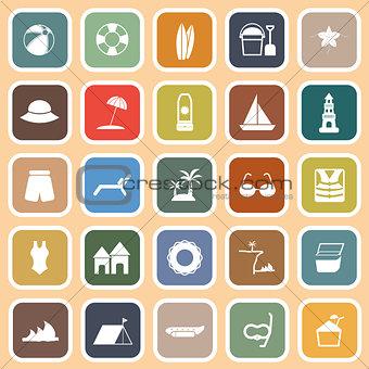 Beach flat icons on orange background