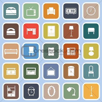 Bedroom flat icons on blue background