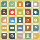 Finance flat icons on yellow background