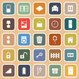 House related flat icons on orange background