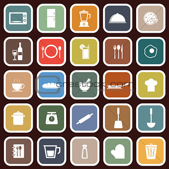Kitchen flat icons on red background