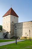 Park at medieval towers of Tallinn