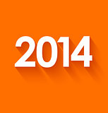 New year 2014 in flat style on orange background