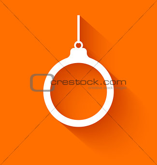 Abstract christmas ball in flat style on orange background
