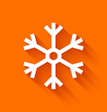 Abstract snowflake in flat style on orange background