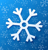 Paper abstract snowflake on blue background. Vector illustration