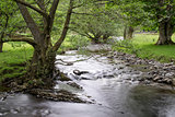 Long exposure landscape of shallow stream flowing through countryside