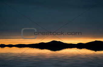 Beautiful landscape seascape vibrant sunset