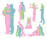 Happy family detailed silhouettes