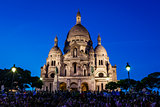Sacre Coeur Cathedral on Montmartre Hill at Dusk, Paris, France