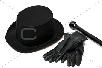 Black hat, gloves and cane