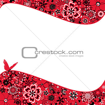 Abstract Flower Background With a Butterfly
