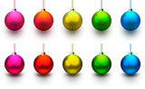 Christmas shiny and colorful balls isolated on white background