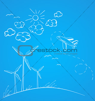 Blue background with airplane