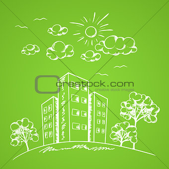 Green background with house