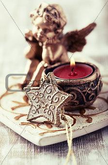 Old fashion christmas decor with a tea light