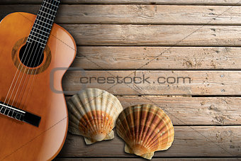 Acoustic Guitar on Wooden Boardwalk